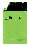 Gammalt grönt kuvert på vit Arkivbilder
