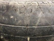 Gammalt gummihjul som är skadat och som är smutsigt på yttersidaslut upp royaltyfri foto