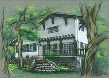 Gammalt härligt hus i Bayonne, Frankrike Teckning Arkivfoto