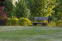 Gammalt handgjort träbänkanseende på gräsmatta i parkera eller trädgården Royaltyfria Bilder