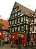 Gammalt hus i en by nära Stuttgart, Tyskland Arkivfoton