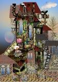 Gammalt hus med naturen omkring Royaltyfria Bilder