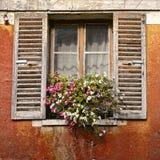 Gammalt husfönster med blommor och antikvitetslutare Arkivfoton