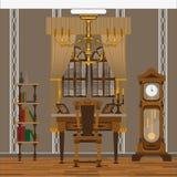 Gammalt inre kontor vektor illustrationer