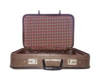 Gammalt isolerat öppet för resväska Tappningfall retro handväska Royaltyfri Foto
