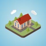 Gammalt isometriskt hus Arkivfoto