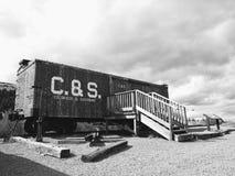 Gammalt järnvägdrev på berget Arkivfoton