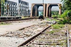 Gammalt järnvägspår med broarna Royaltyfri Fotografi