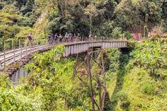 Gammalt järnvägspår nära Medellin, Colombia arkivfoton