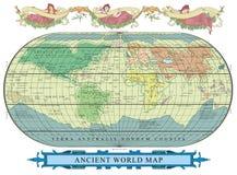 Gammalt jordklot för vektor med garnering med nymfer royaltyfri illustrationer