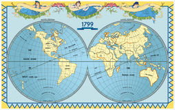 Gammalt jordklot för vektor med nymfer stock illustrationer