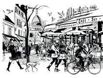Gammalt kafé i Paris Montmartre royaltyfri illustrationer