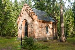 Gammalt kapell på den Wrede familjkyrkogården 18 September 2018 - Anjala, Kouvola, Finland royaltyfri fotografi
