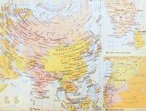 Gammalt kartlägga av asia Fotografering för Bildbyråer