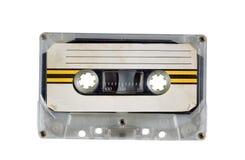 Gammalt kassettband på vit Royaltyfria Bilder