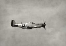 Gammalt kämpeflygplan i flykten Arkivfoto