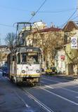 Gammalt kollektivtrafiknätverk av bussar, spårvagnar och trådbussar in Arkivfoto