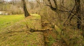 Gammalt konkret Flumematningsvatten till Mason Creek Gristmill Waterwheel arkivbilder