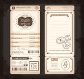 Gammalt kort för bröllop för biljett för passerande för tappningstillogi stock illustrationer
