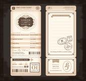 Gammalt kort för bröllop för biljett för passerande för tappningstillogi Royaltyfri Fotografi