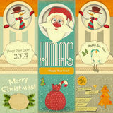 Gammalt kort för nya år för jul Royaltyfria Bilder