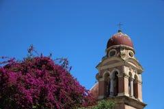 Gammalt kyrka och Klocka torn med att sl? ut den rosa bougainvillean arkivfoton