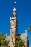 Gammalt kyrkliga Klocka torn i Veere, Nederländerna Royaltyfri Fotografi