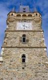 Gammalt kyrkligt torn med klockan, abstrakt sikt - Rumänien Transylvania Royaltyfria Foton