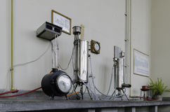 Gammalt laboratorium, thermotechnicslabb Arkivbild