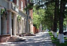 Gammalt landskap för gata för sommar för stadskvarter med att gå folk royaltyfria bilder