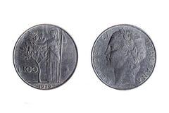 Gammalt 100 lira italienskt mynt royaltyfri foto