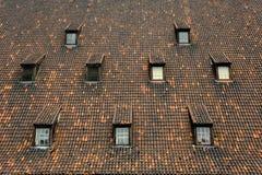 Gammalt mala belade med tegel takfönster Gdansk royaltyfria bilder