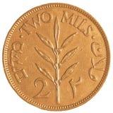 gammalt Mil-mynt för israel 2 från den brittiska mandateran Royaltyfria Bilder