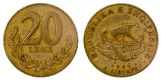 Gammalt mynt av Albanien Fotografering för Bildbyråer