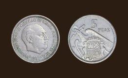 Gammalt mynt i det Spanien året 1957 arkivbilder