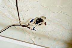 Gammalt osäkert ledningsnät i lägenheten Säkerhetskränkning royaltyfri bild