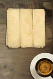 gammalt paper trä för kaffe Arkivfoton