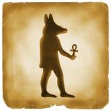 Gammalt papper Anubis Ankh för egyptiskt symbol stock illustrationer