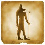 Gammalt papper Anubis för egyptiskt symbol royaltyfri illustrationer