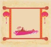gammalt papper för asiatisk liggande Royaltyfri Foto