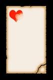 gammalt papper för hjärta Royaltyfri Fotografi