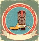 gammalt papper för kängacowboyetikett Arkivfoton