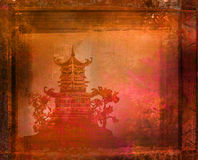 gammalt papper för asiatisk liggande Royaltyfri Bild