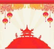 Gammalt papper med asiatiskt landskap vektor illustrationer