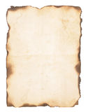 Gammalt papper med brända kanter royaltyfri bild