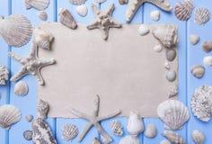 Gammalt papper på blåa bräden seamless tema för blått marin- hav Fotografering för Bildbyråer