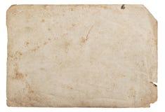 Gammalt pappers- ark isolerad vit bakgrundspapptextur fotografering för bildbyråer