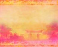Gammalt pappers- med kines landskap Arkivbilder