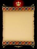 Gammalt pergament med den guld- gotiska prydnaden och tappning planlägger eleme Arkivbild