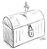 Gammalt piratkopiera skatten med låset och dolken Arkivbilder